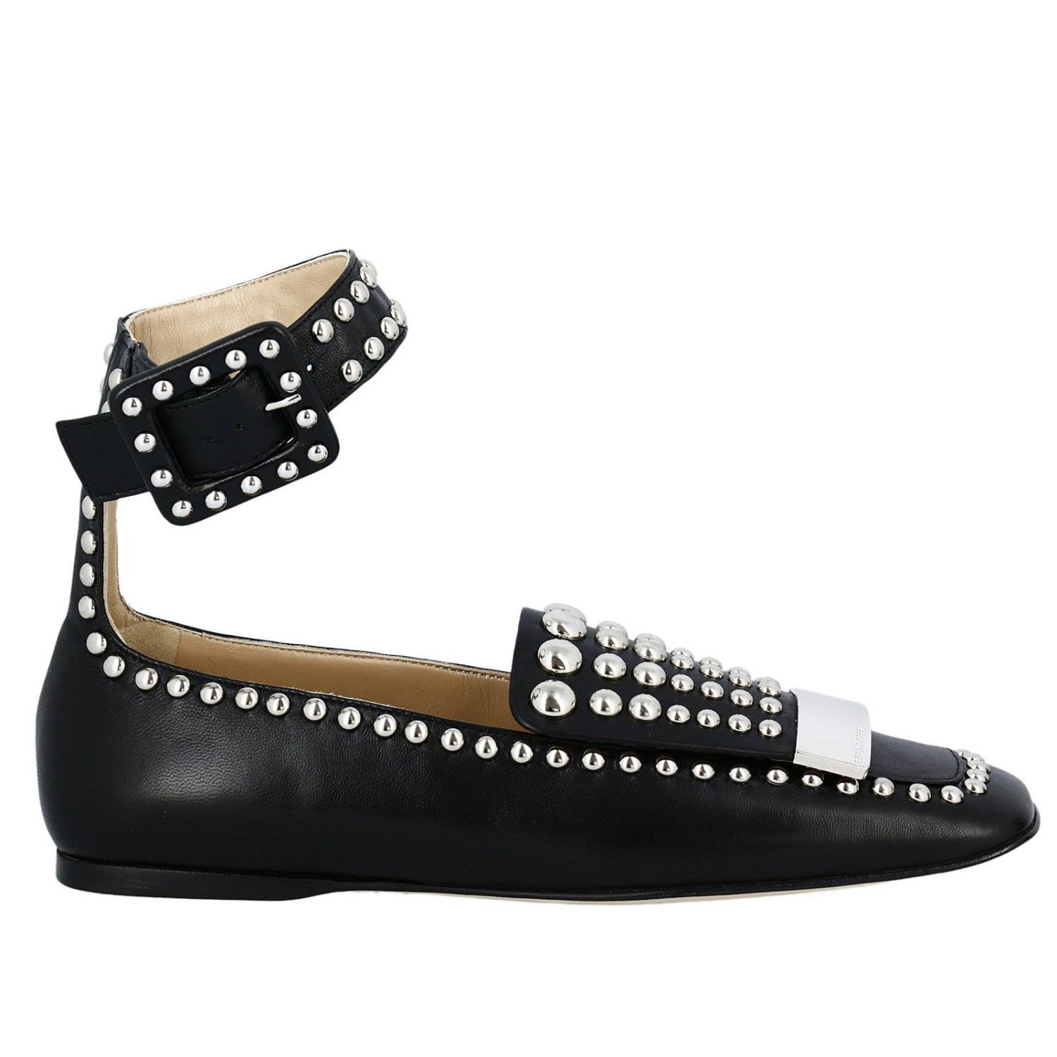 sergio rossi 10mm metal plaque studded leather flats in black modesens. Black Bedroom Furniture Sets. Home Design Ideas