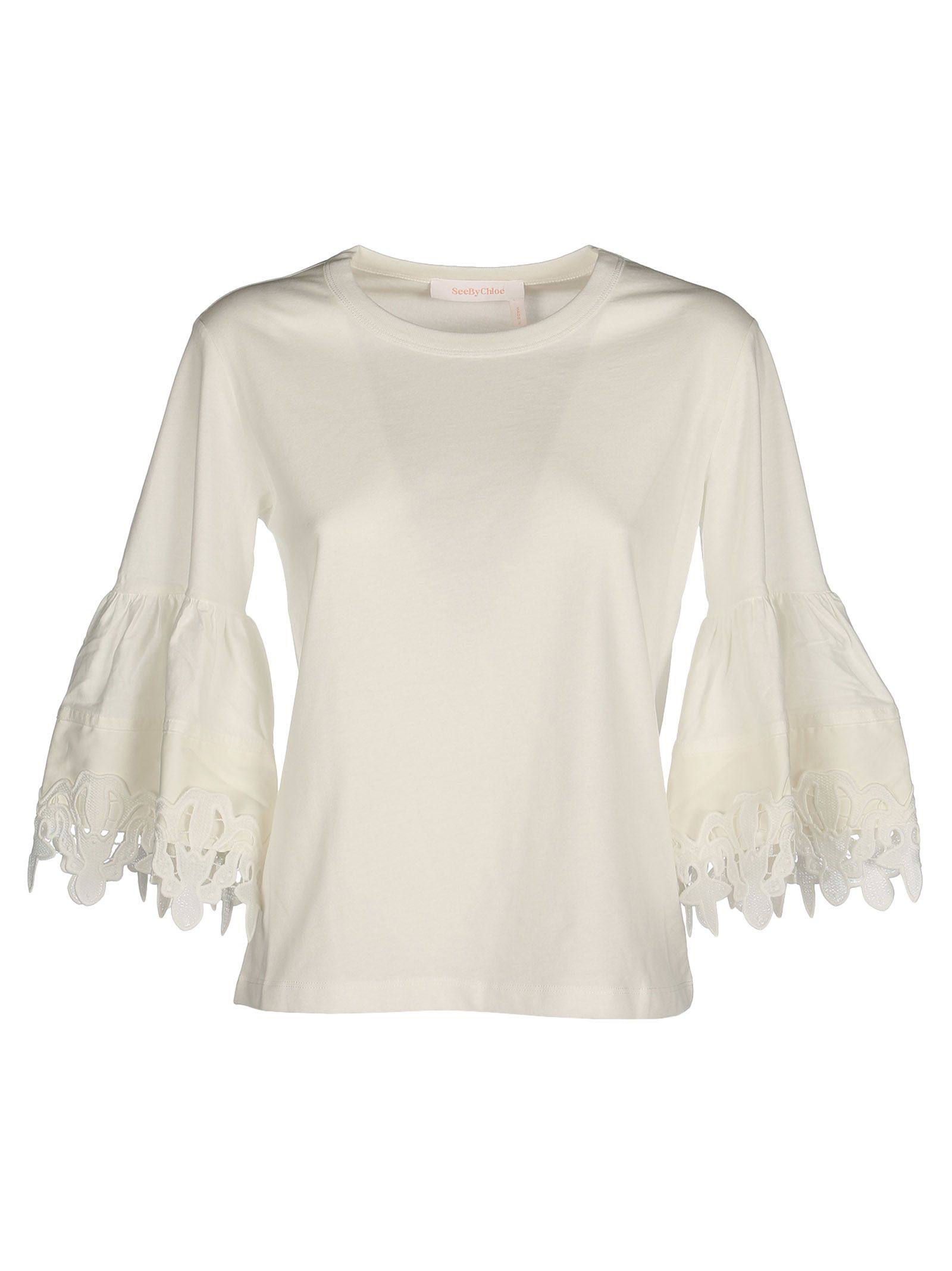 See By Chloé Open Embroidery Bell Sleeve T-shirt