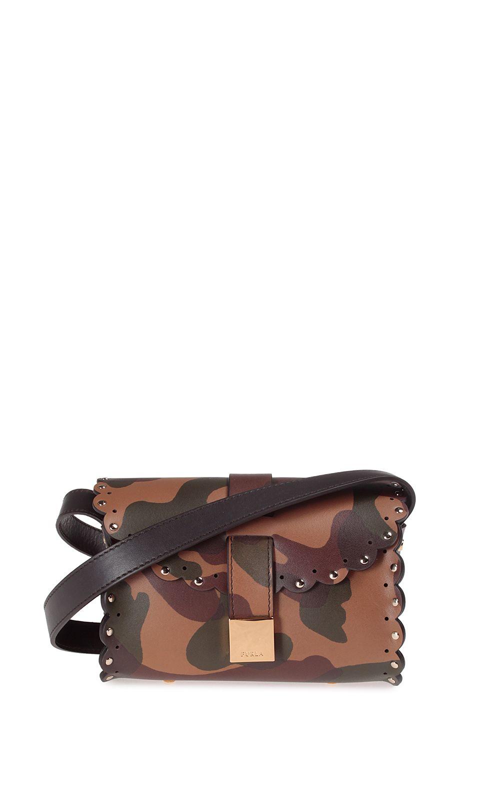Furla Amazzone Studded Camo-print Leather Cross-body Bag