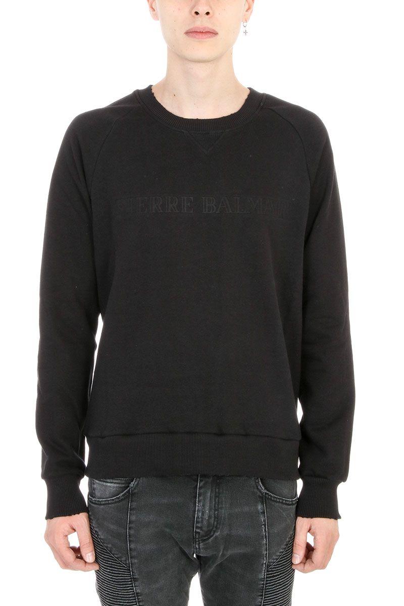 Pierre Balmain Black Cotton Logo Sweatshirt