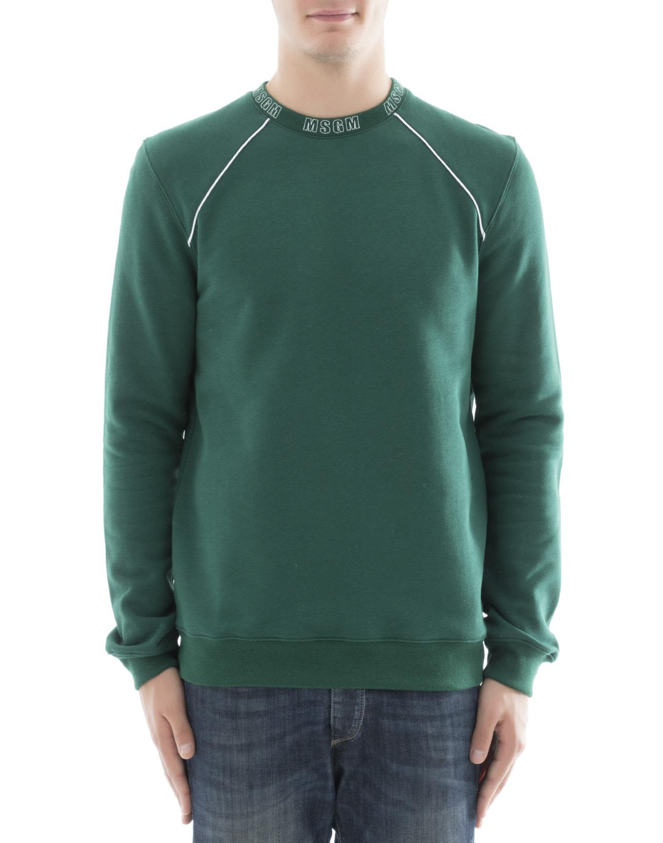MSGM - Green Cotton Sweater - Green, Men's Sweaters | Italist