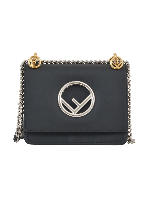 cc1760a75f94 Fendi Kan I F Mini Black Leather Bag