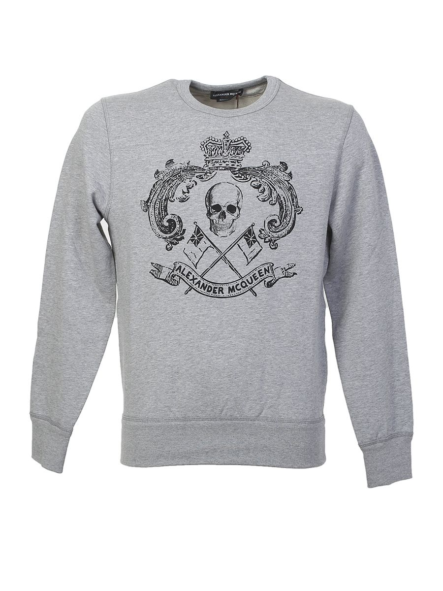 Printed Grey Cotton Sweater