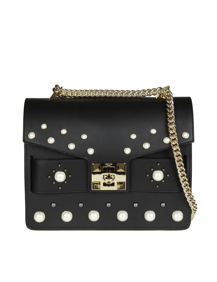 Salar olivia Pearl Bag In Black Leather With Applied Pearls