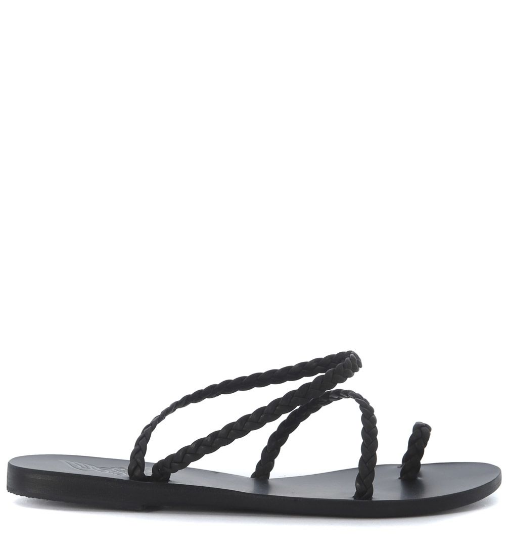 Ancient Greek Sandals Eleftheria Black Woven Leather Sandal