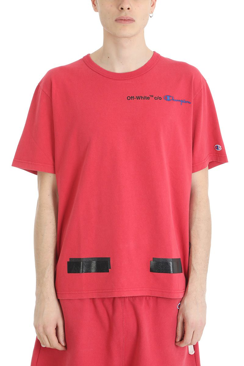 Off-White Red Cotton T-shirt