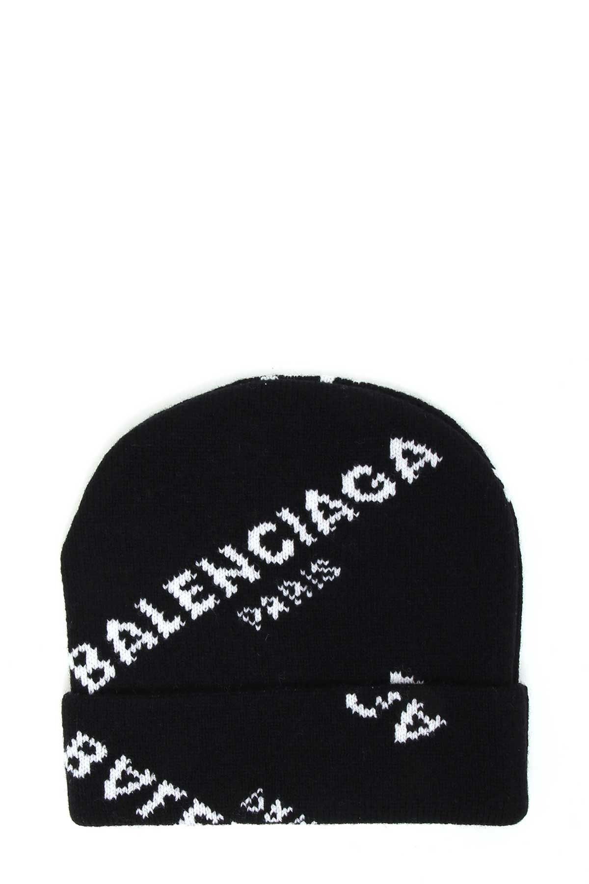 Balenciaga Wool Knitted Cap With Logo