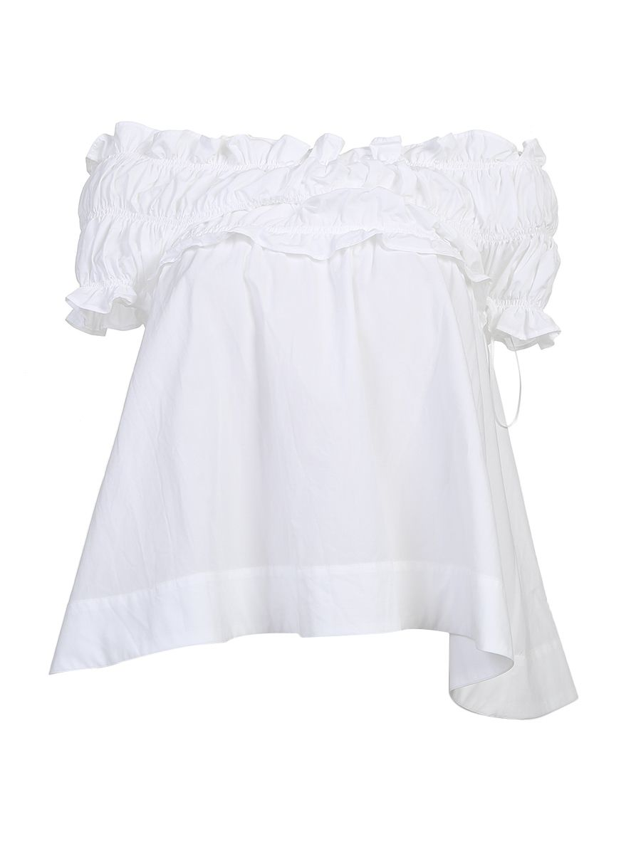 Ruffled White Cotton Top