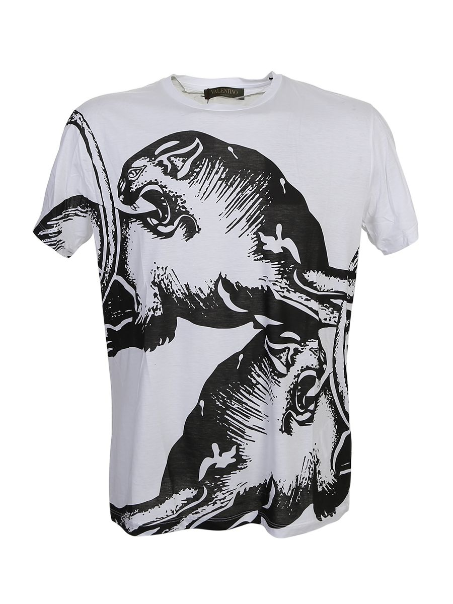 Panther Print White Cotton T-shirt