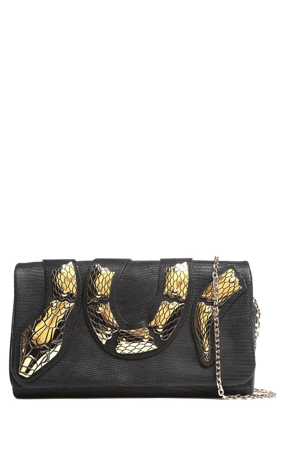 RED Valentino Sin Snake-print Leather Clutch