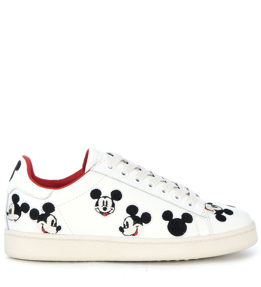 Moa Mickey Mouse White Leather Sneaker