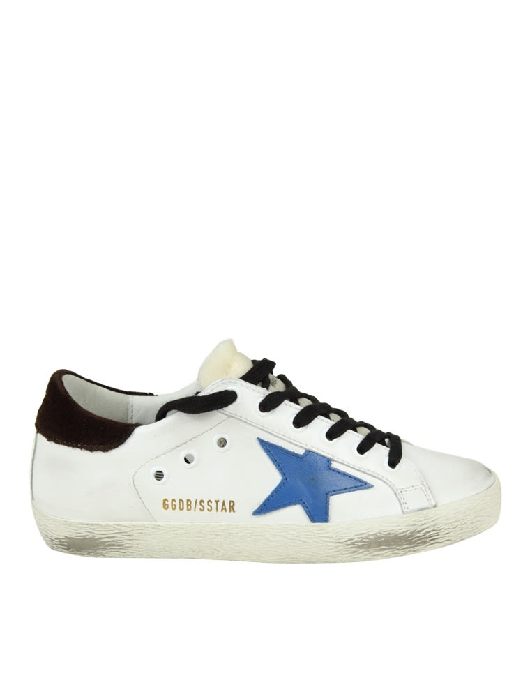 Golden Goose Sneakers Superstar In Leather Color White And Blue Star