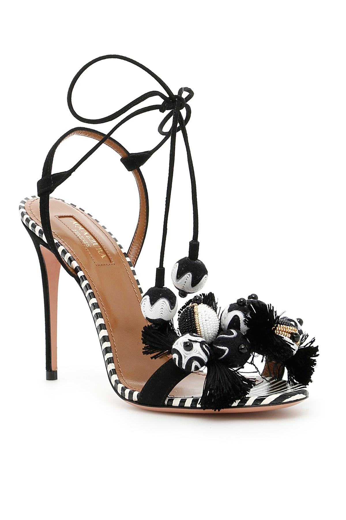 b55404458 Aquazzura Tropicana Sandals In Multi Blackbianco