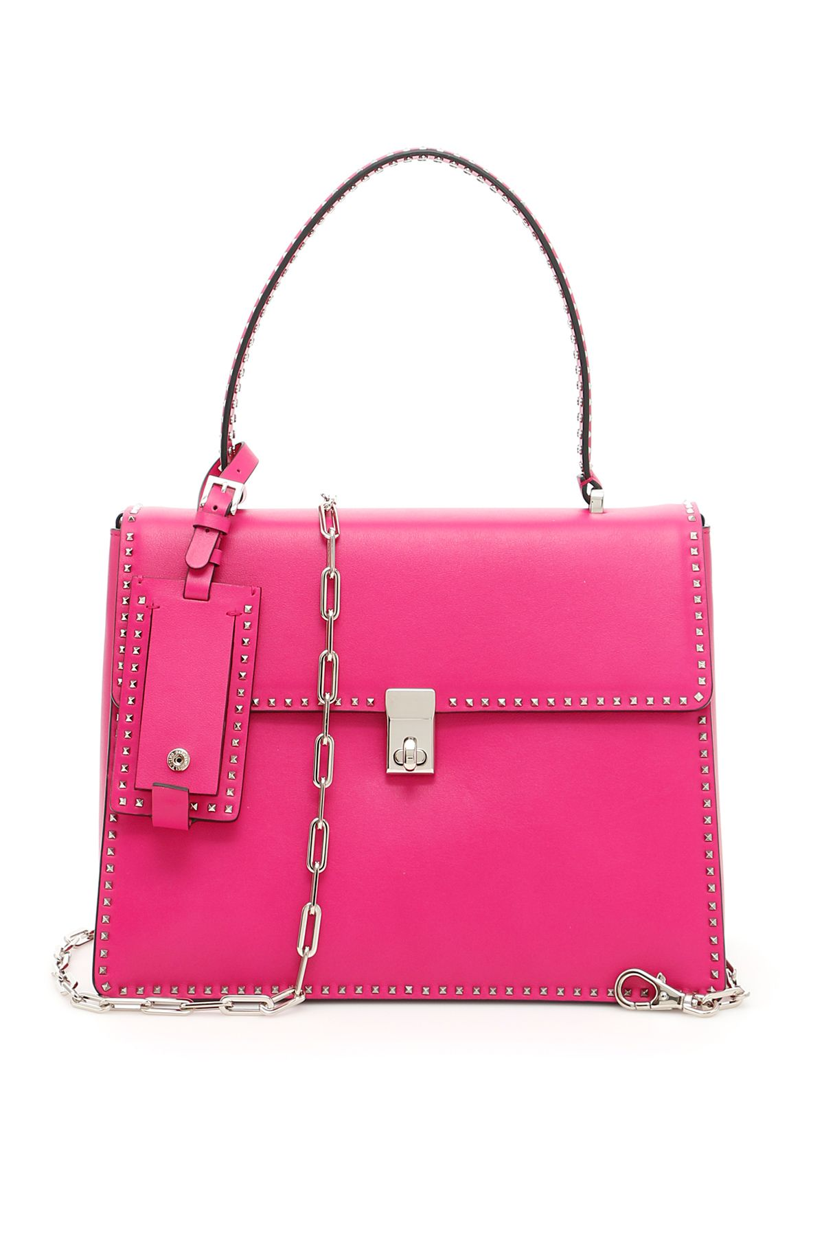 Candystud Single Handle Quilted Leather Bag, Fuxia
