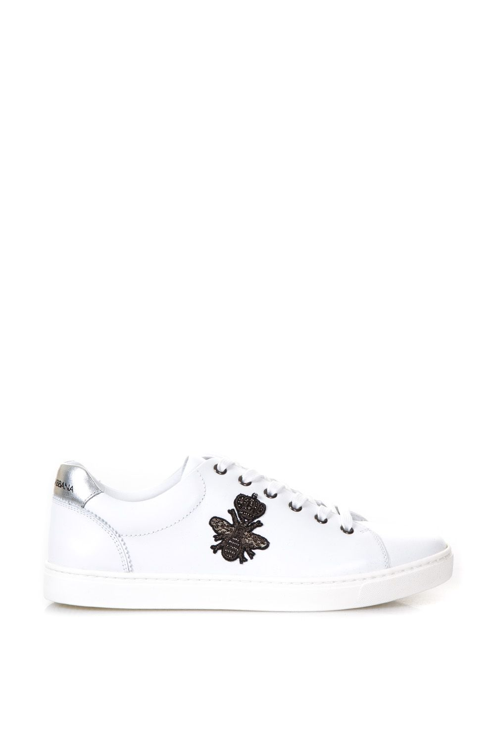 Dolce & Gabbana London Embroidered Leather Sneakers