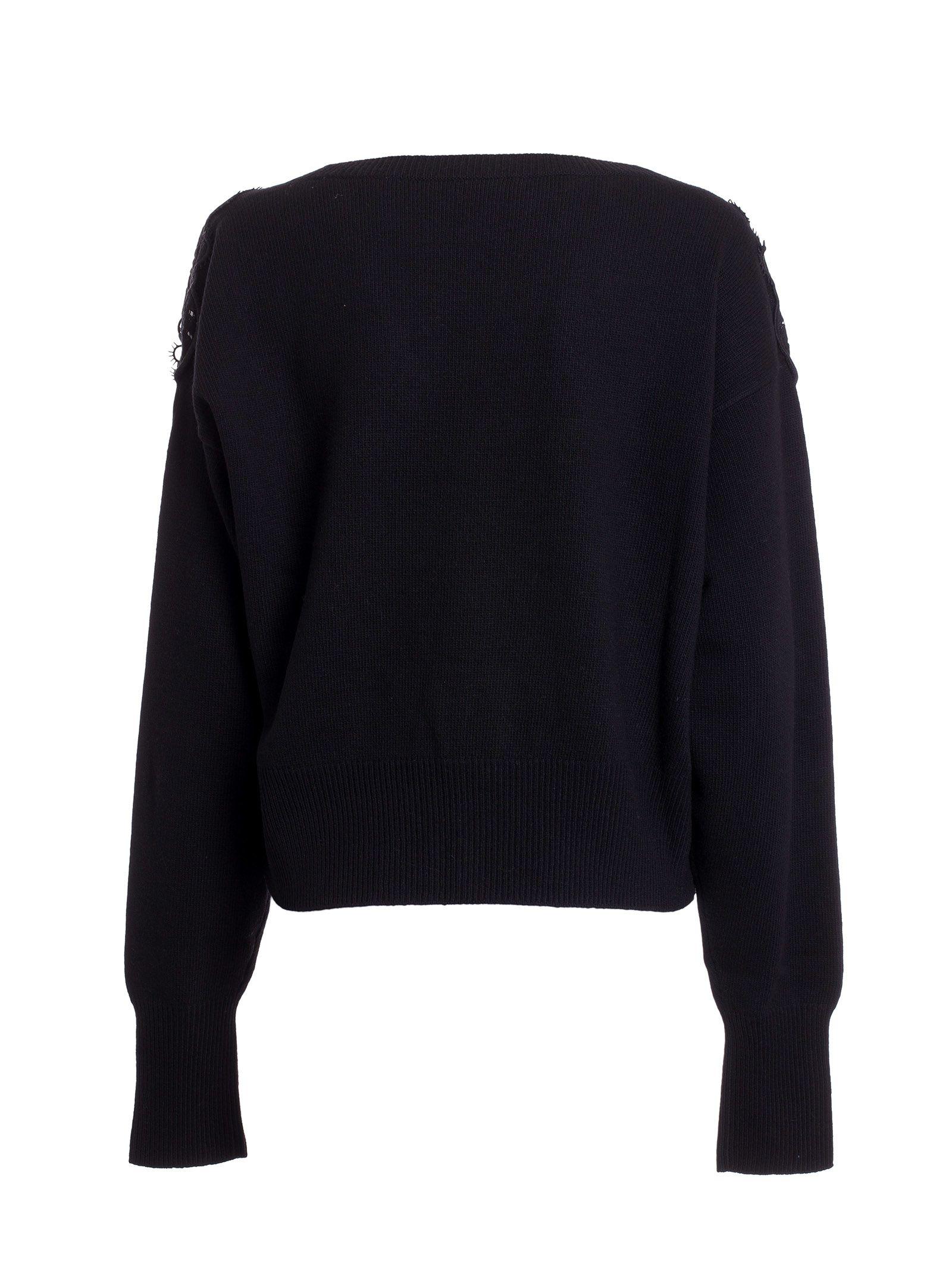 Chloé - Chloé Floral Lace Shoulder Cardigan - Black, Women's ...