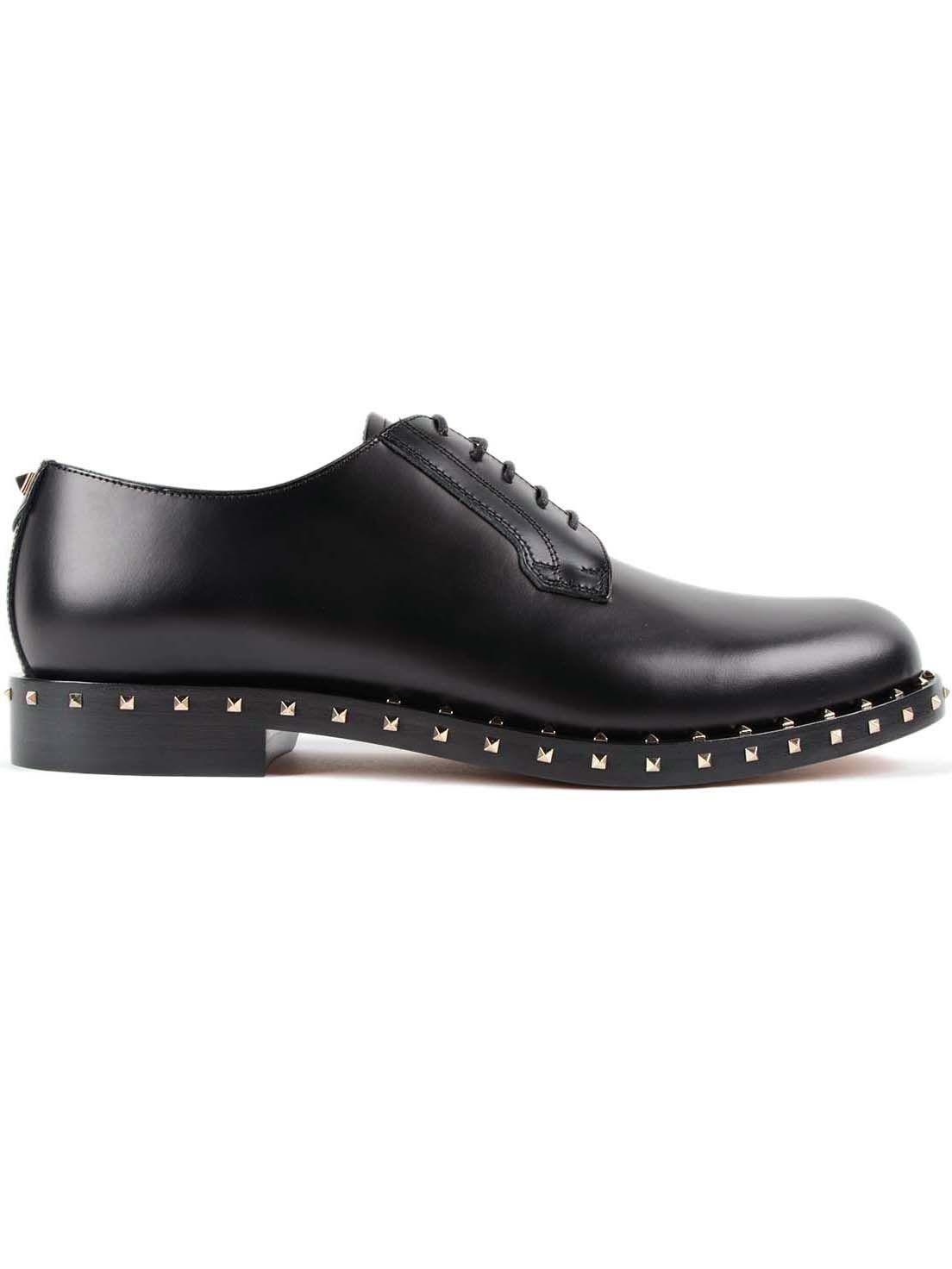valentino garavani valentino garavani micro rockstud derby shoes black men 39 s laced shoes. Black Bedroom Furniture Sets. Home Design Ideas