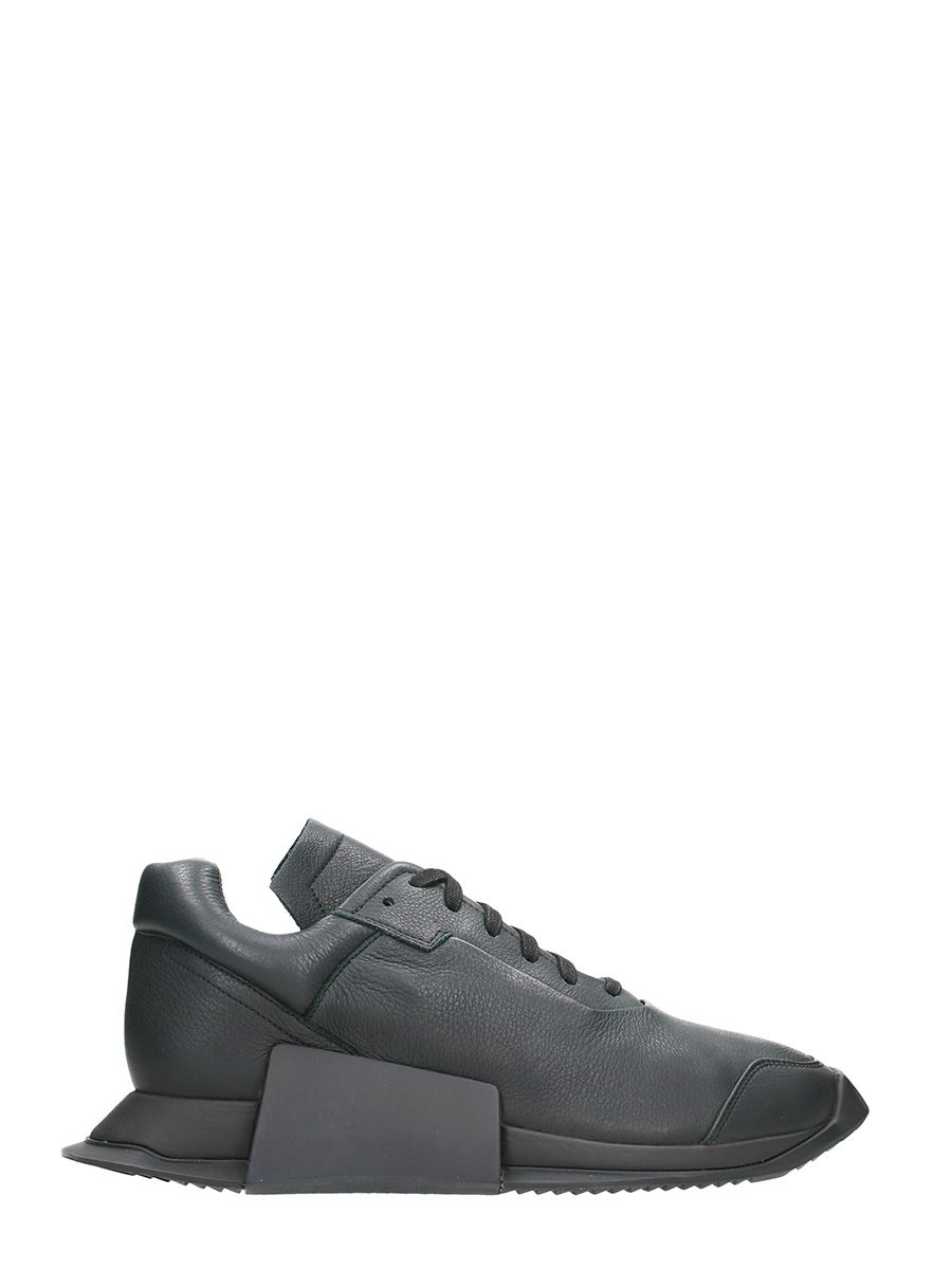 Rick Owens x Adidas New Runner Black Leather Sneakers