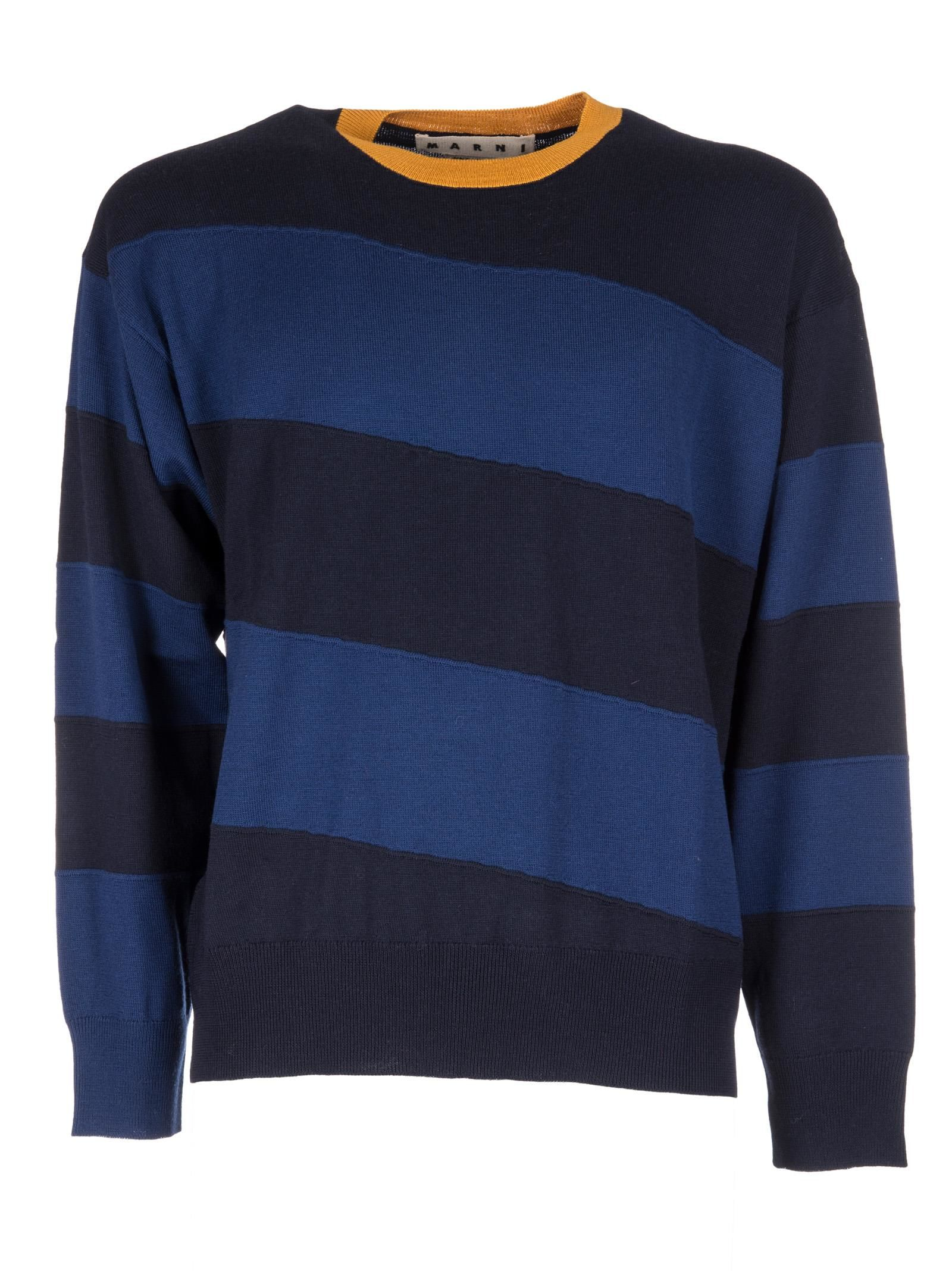 Marni - Marni Striped Sweater - Navy blue yellow, Men's Sweaters ...