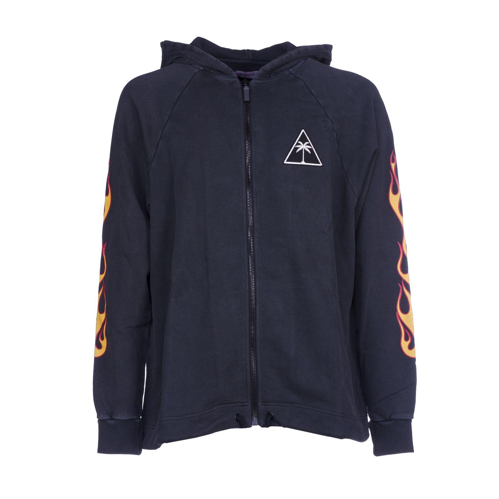 Palm Angels Flame Sleeve Hooded Sweatshirt