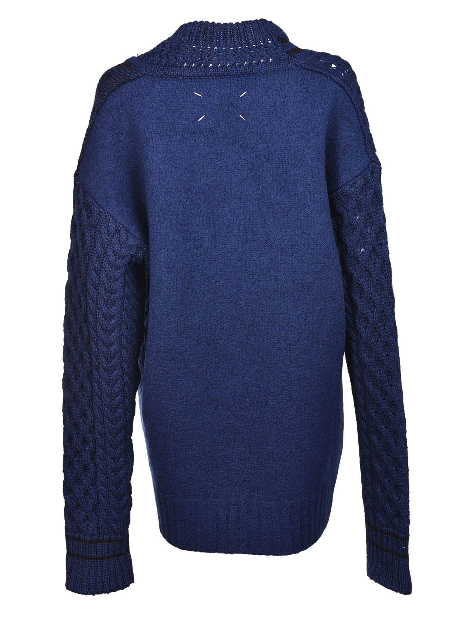 Maison Margiela - Maison Margiela Asymmetric Cable Knit Sweater ...