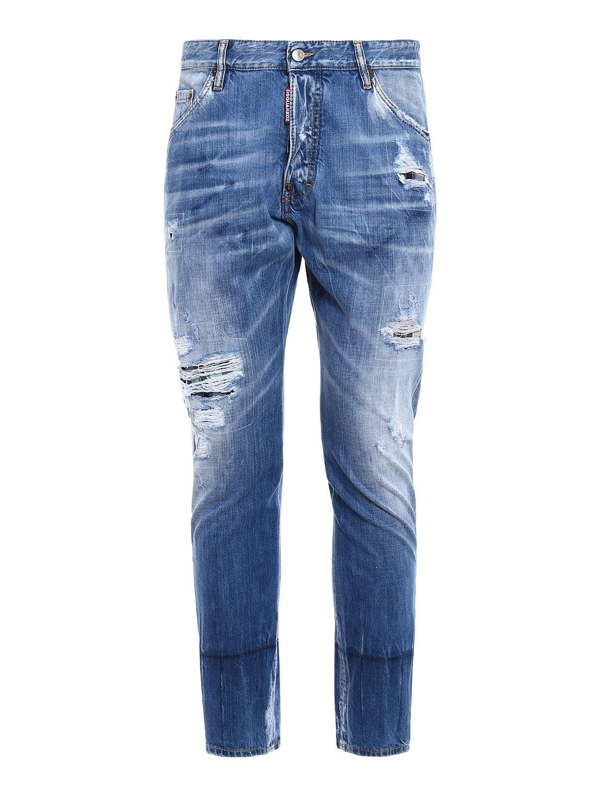 Dsquared2 Kenny Twist Light Blue Distressed+check Patch