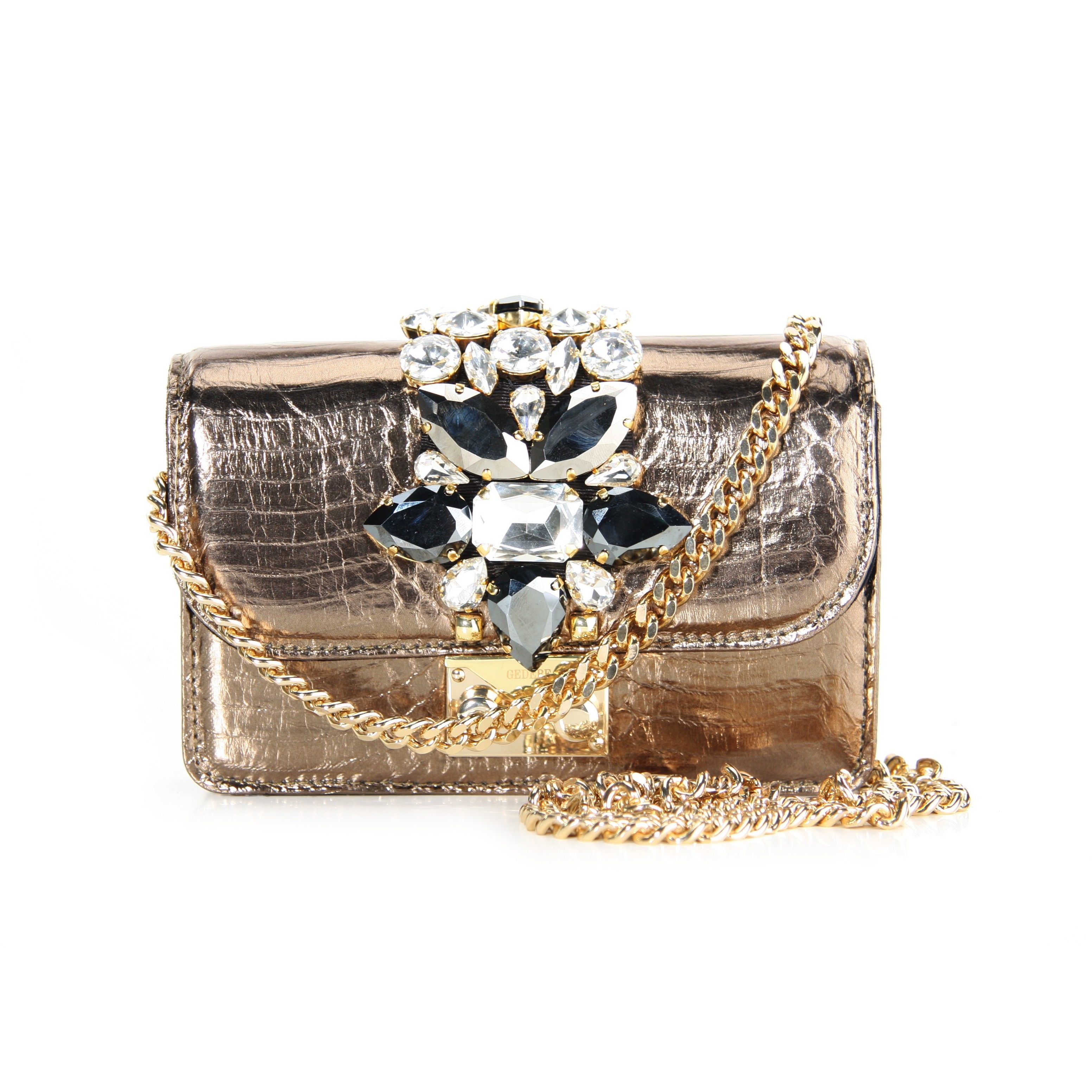 Gedebe Gold Mini Cliky Metal Textured Bag