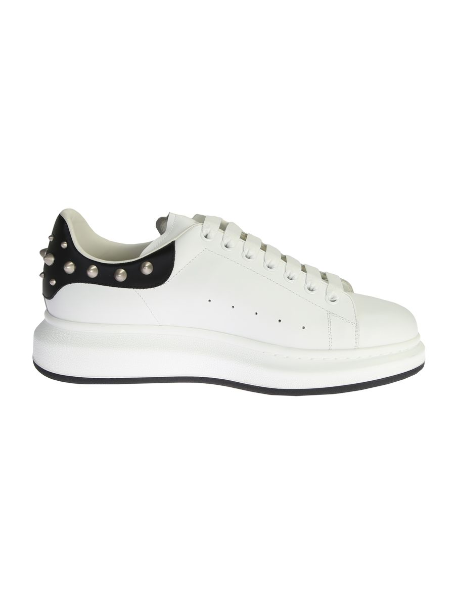Leather Sneakers With Black Studded Detail