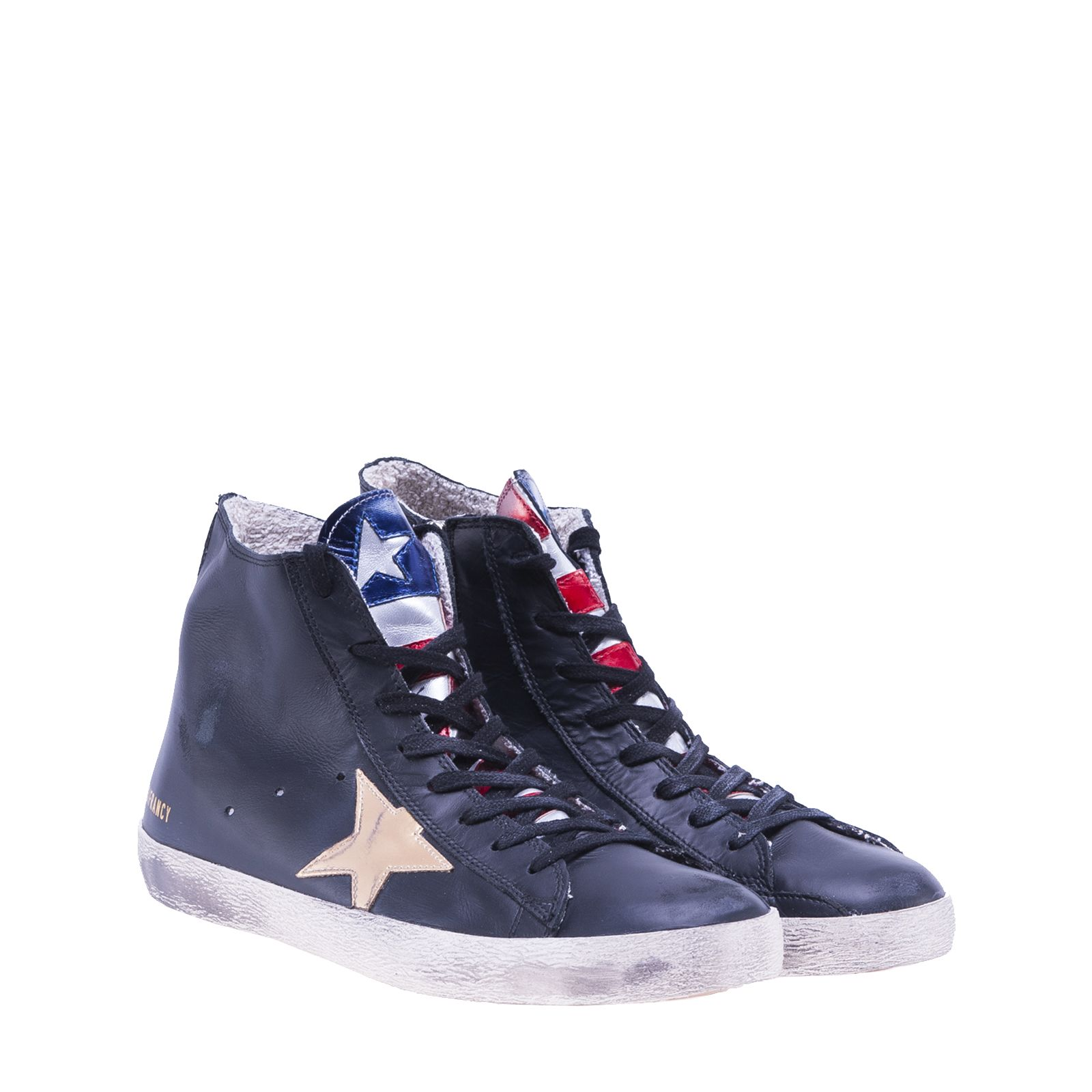 golden goose golden goose deluxe brand francy hi top sneakers black gold men 39 s sneakers. Black Bedroom Furniture Sets. Home Design Ideas