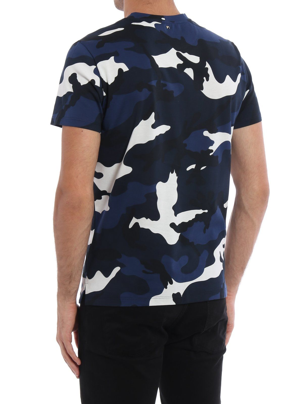 Valentino Valentino Camouflage Print T Shirt Blue Men