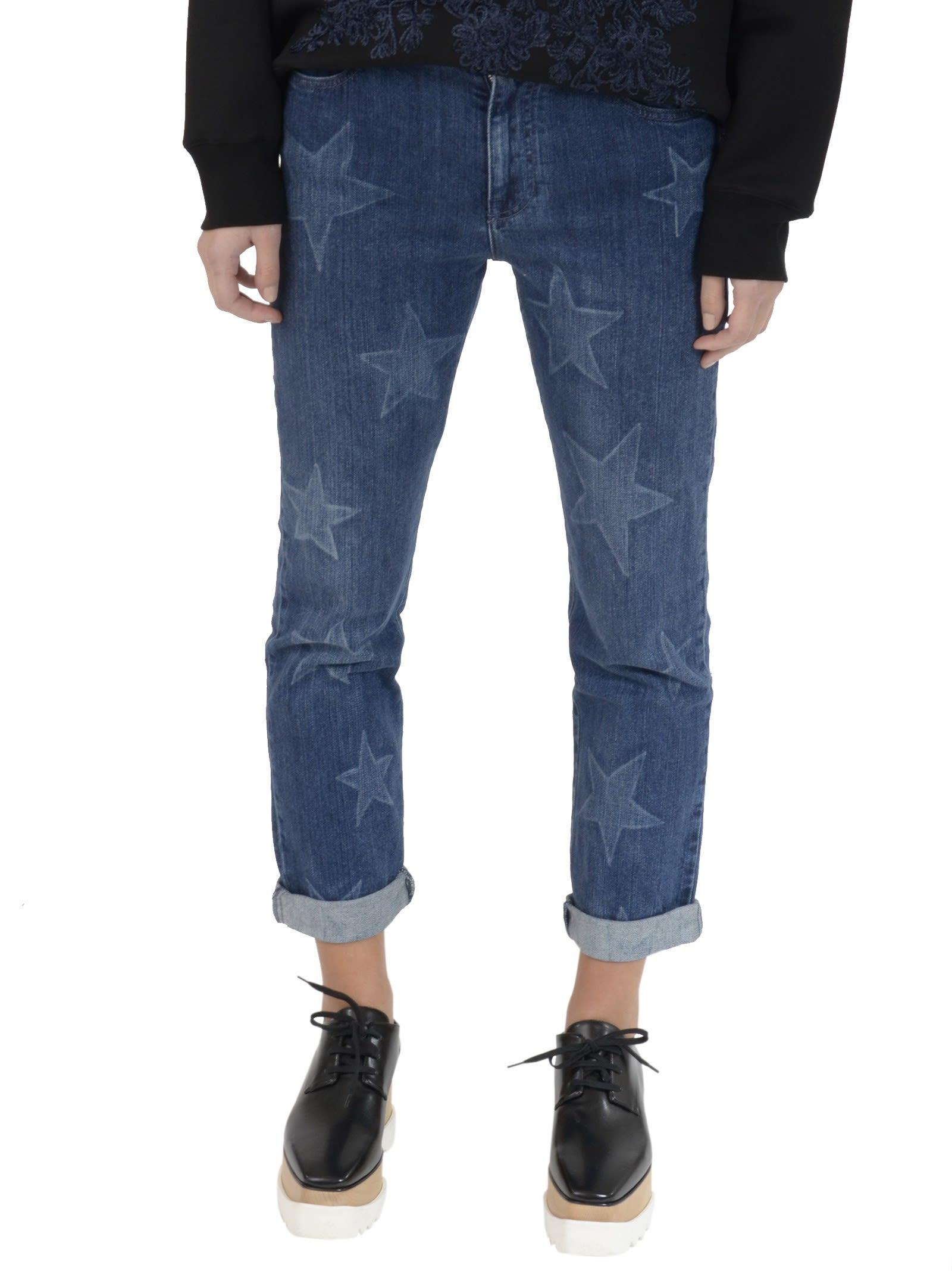 Dark Blue Star Printed Jeans