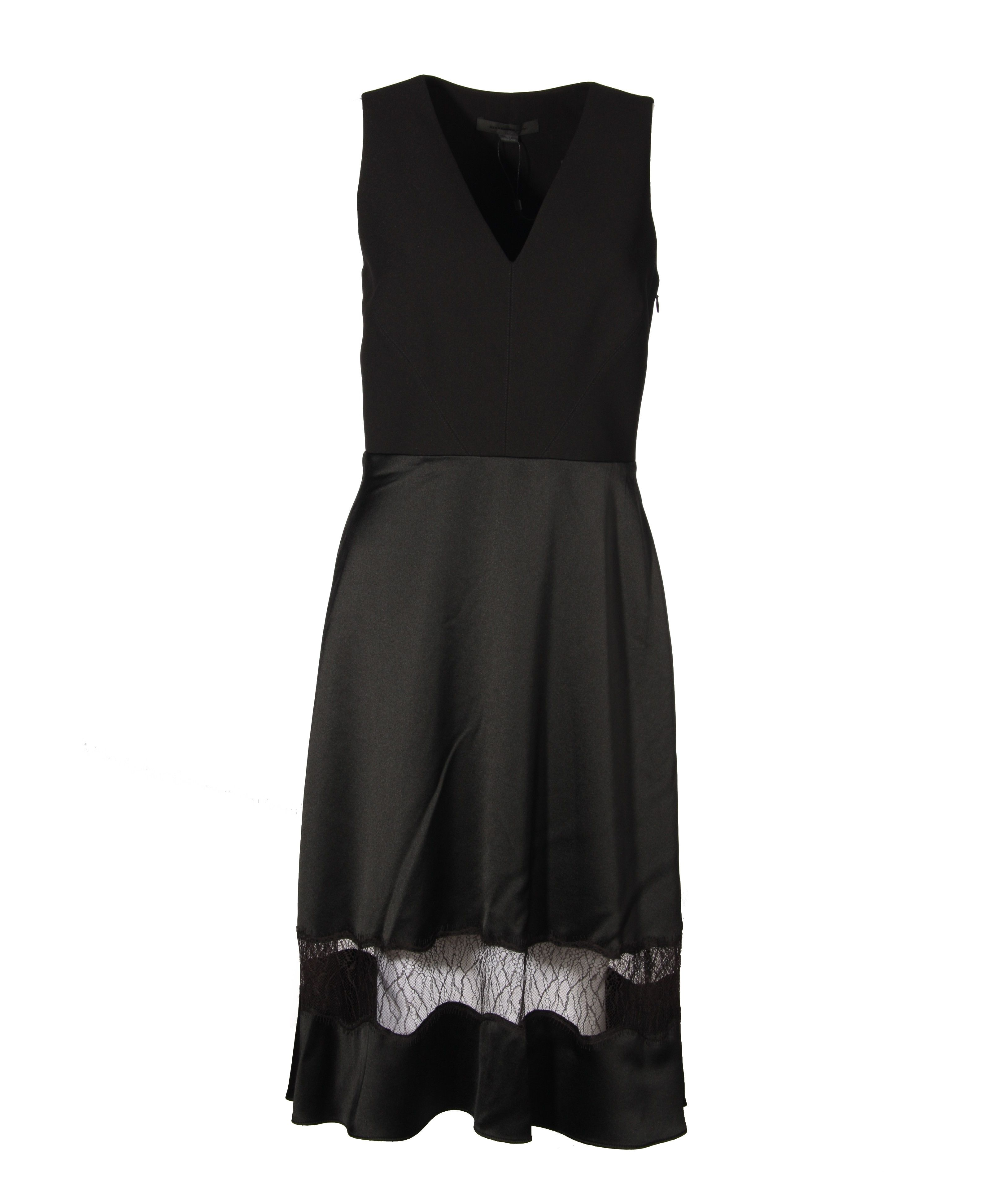 Alexander Wang Black Silk Dress With Lace