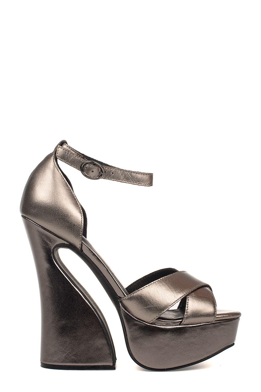 Gray Stefanya Leather Heeled Sandal