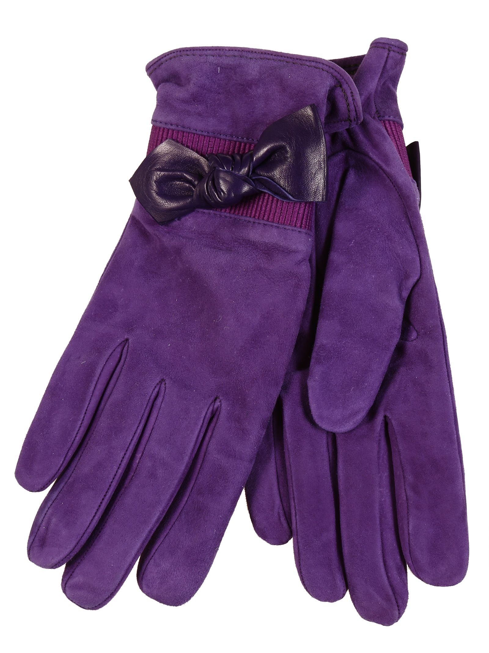 Restelli Suede Gloves With Leather Bow