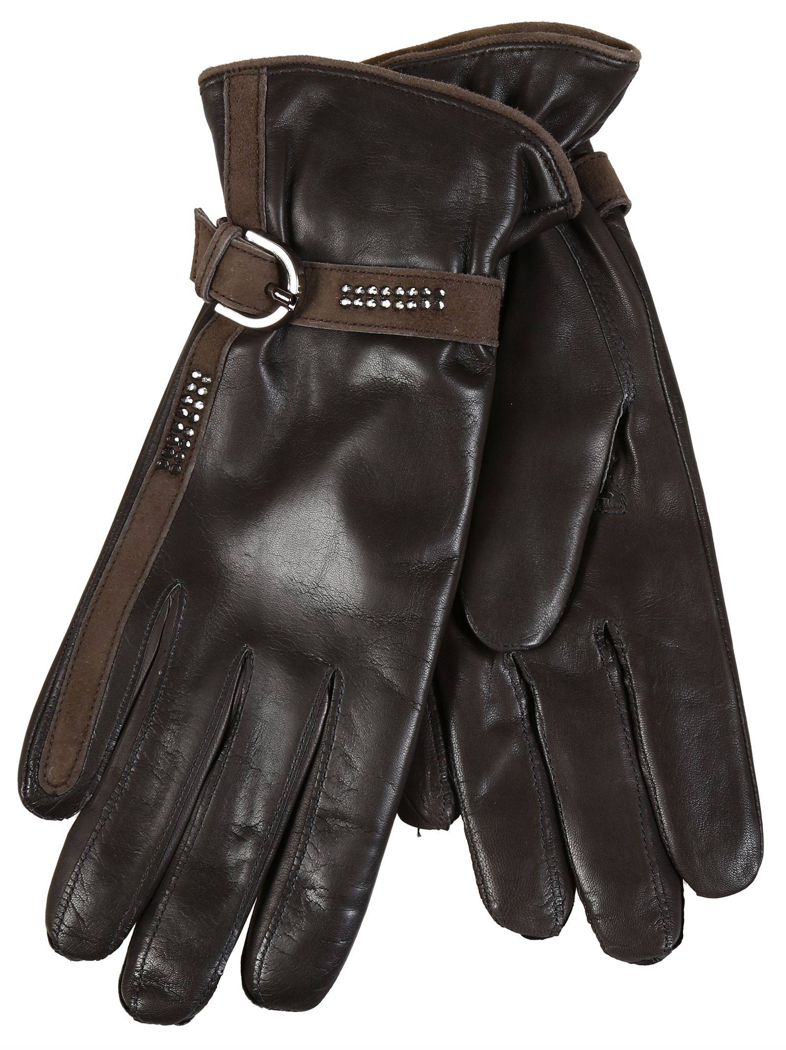 Restelli Nappa Leather Gloves With Crystals