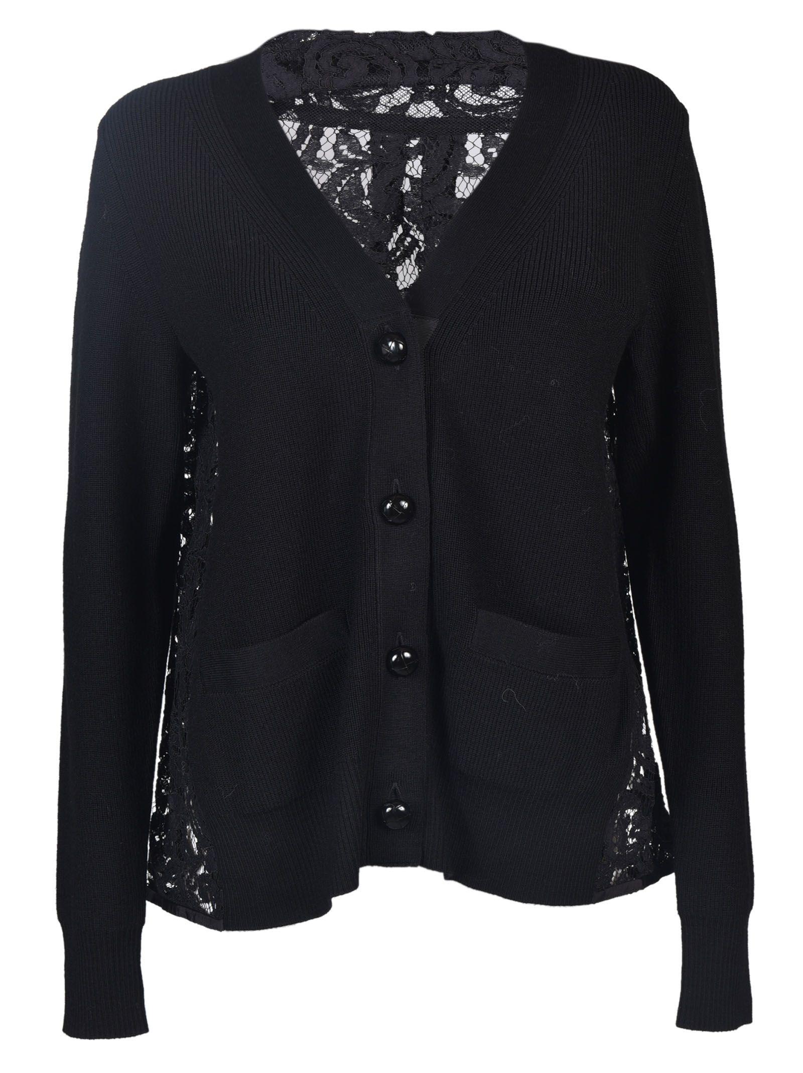 Sacai - Sacai Lace Back Cardigan - Black, Women's Cardigans | Italist