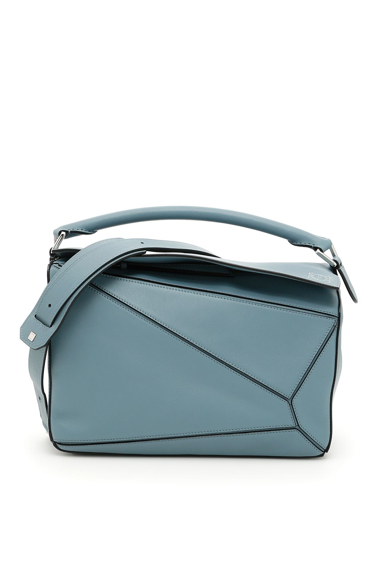 Puzzle Small Leather Cross-Body Bag, Stone Blue