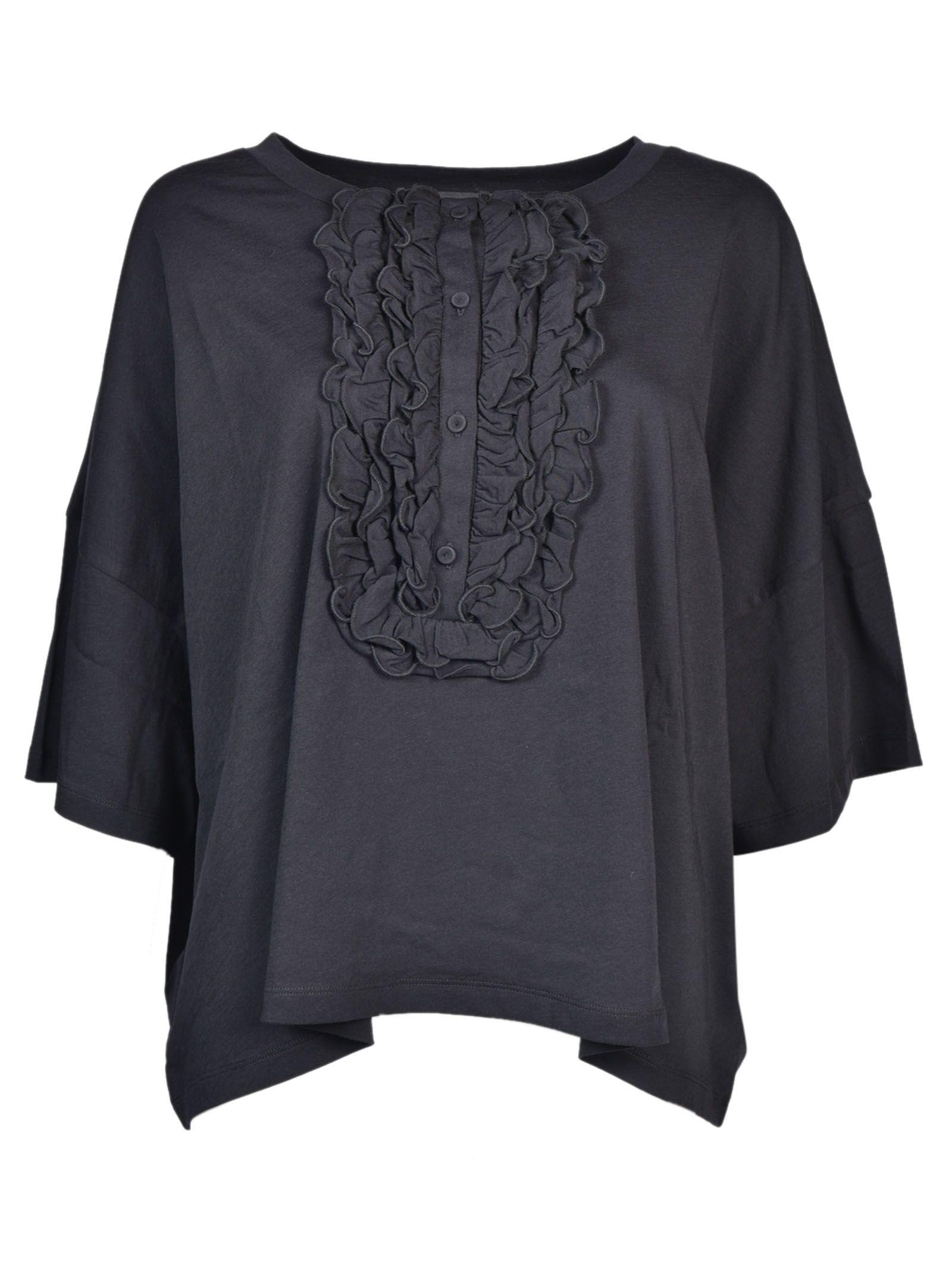Boutique Moschino Ruffled Front Bib T-Shirt