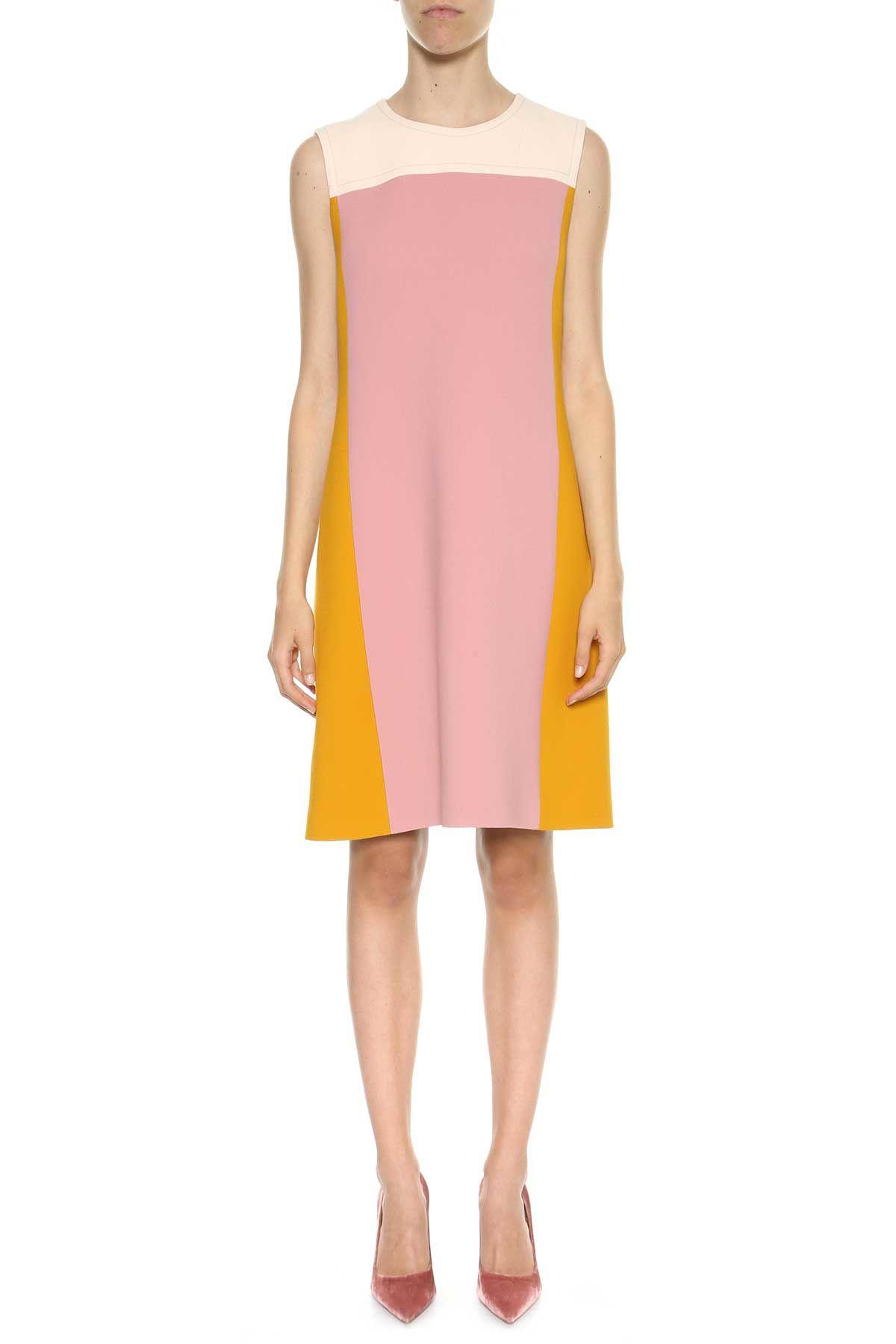 Bottega Veneta Color Block Wool Nattè Dress
