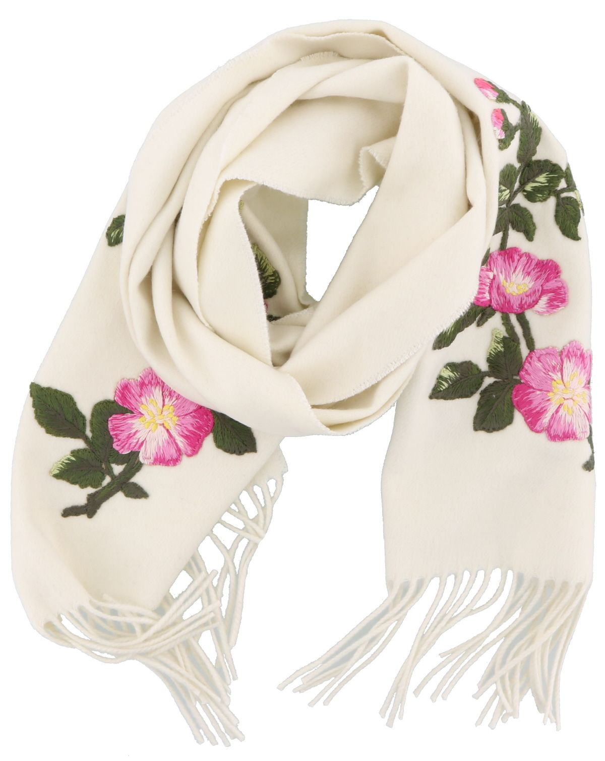 Gucci Ufo And Flowers Detail Silk And Cashmere Scarf