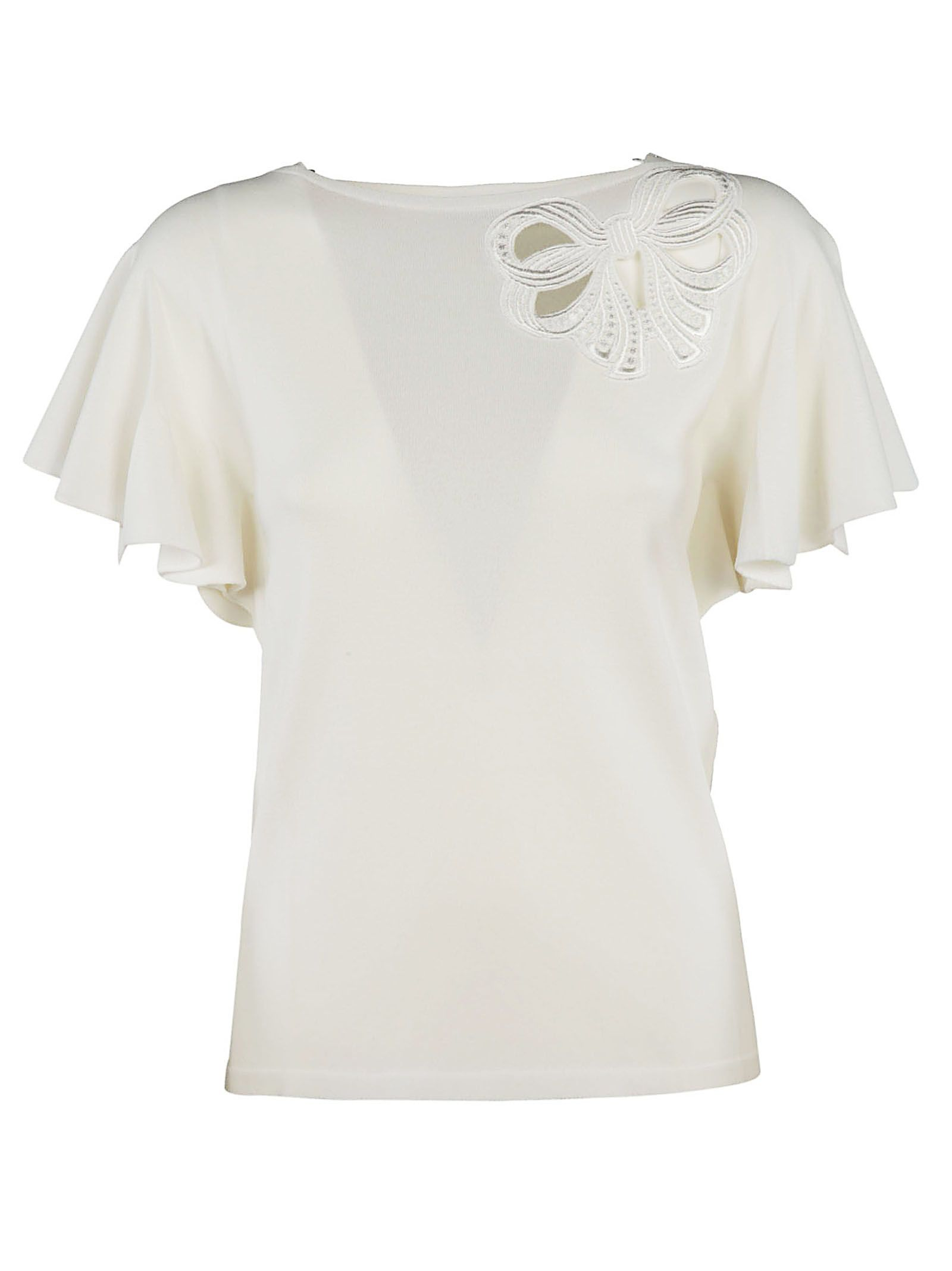 Blumarine Ribbon Embroidered Top
