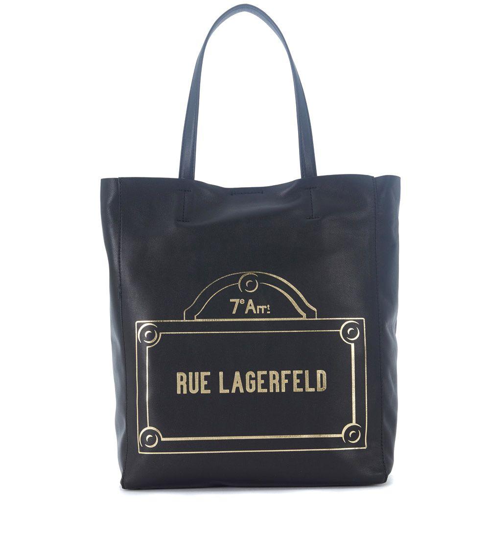 Karl Lagerfeld  SHOPPER KARL LAGERFELD RUE LAGERFELD IN PELLE NERA