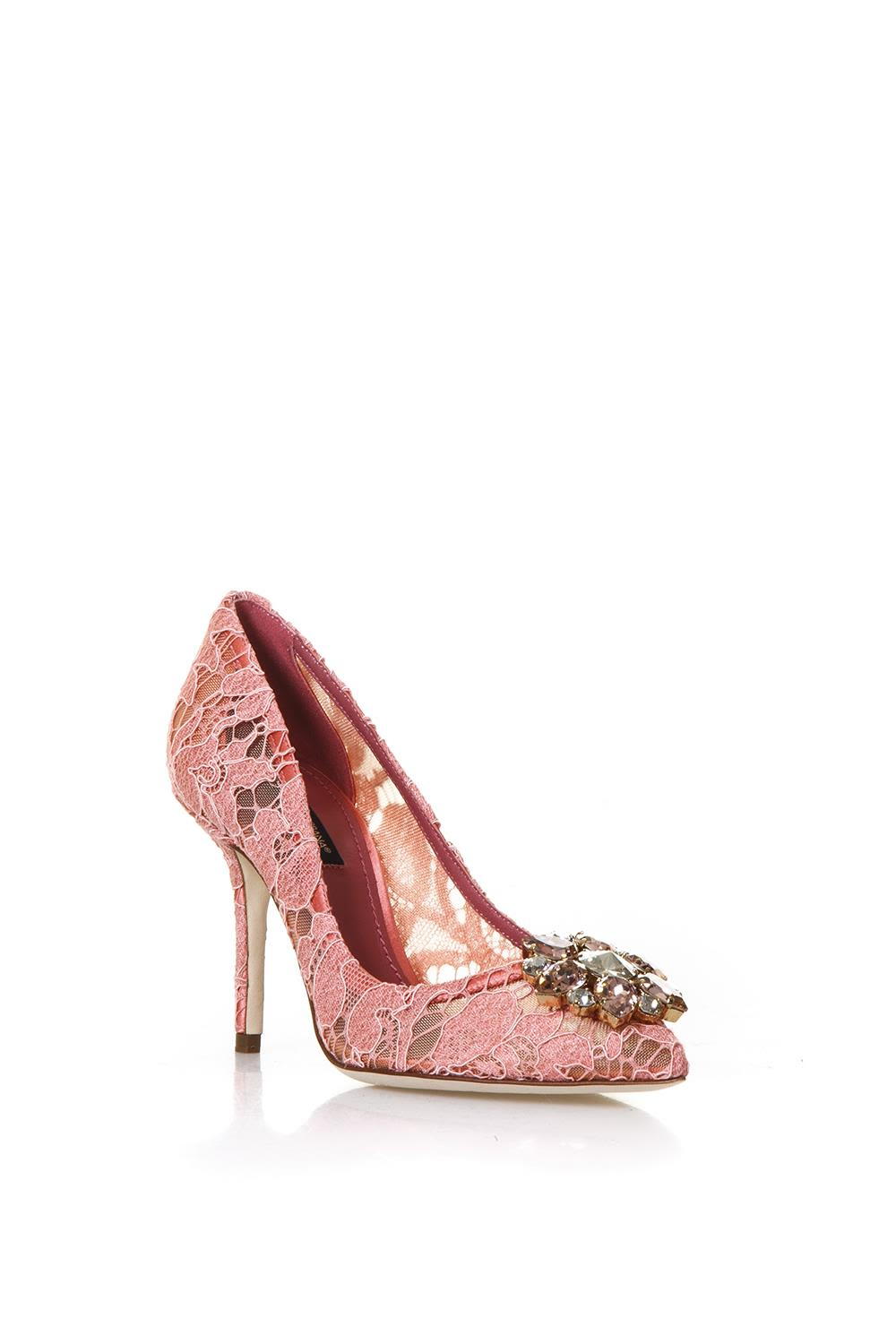 Bellucci Embellished Lace Pumps - IT38.5 / Blue Dolce & Gabbana