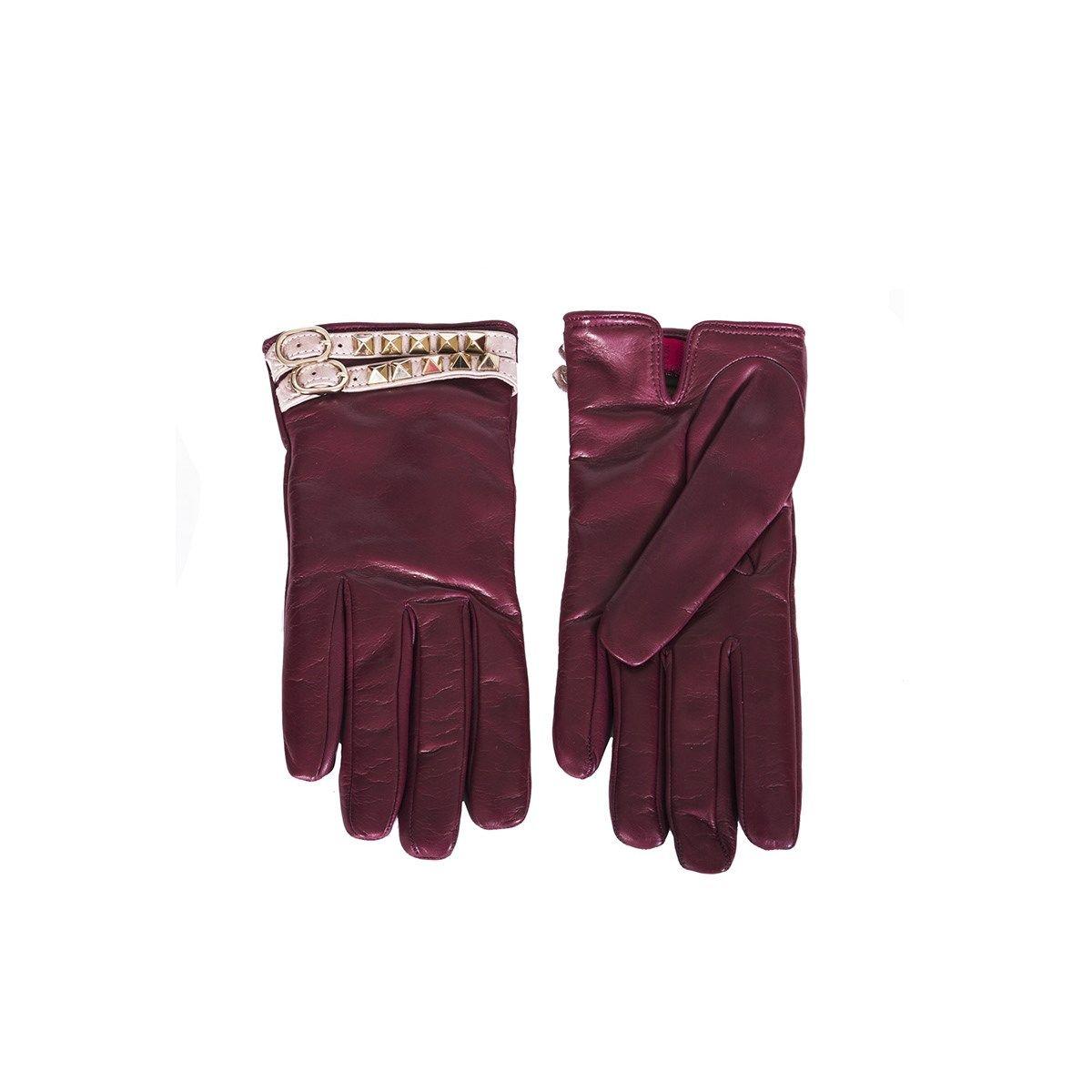 Burgundy Rockstud Gloves