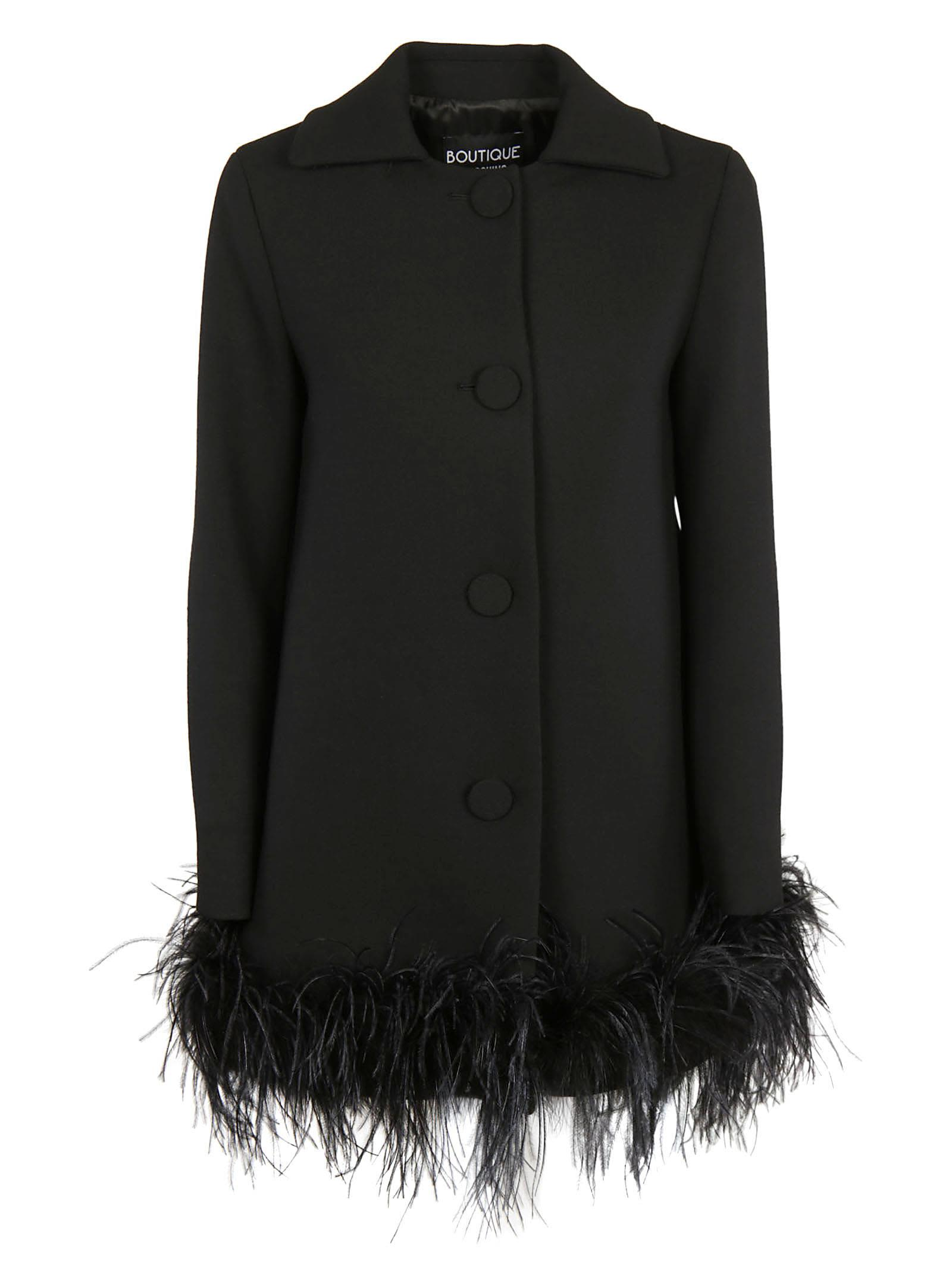 Boutique Moschino Feather Detail Coat