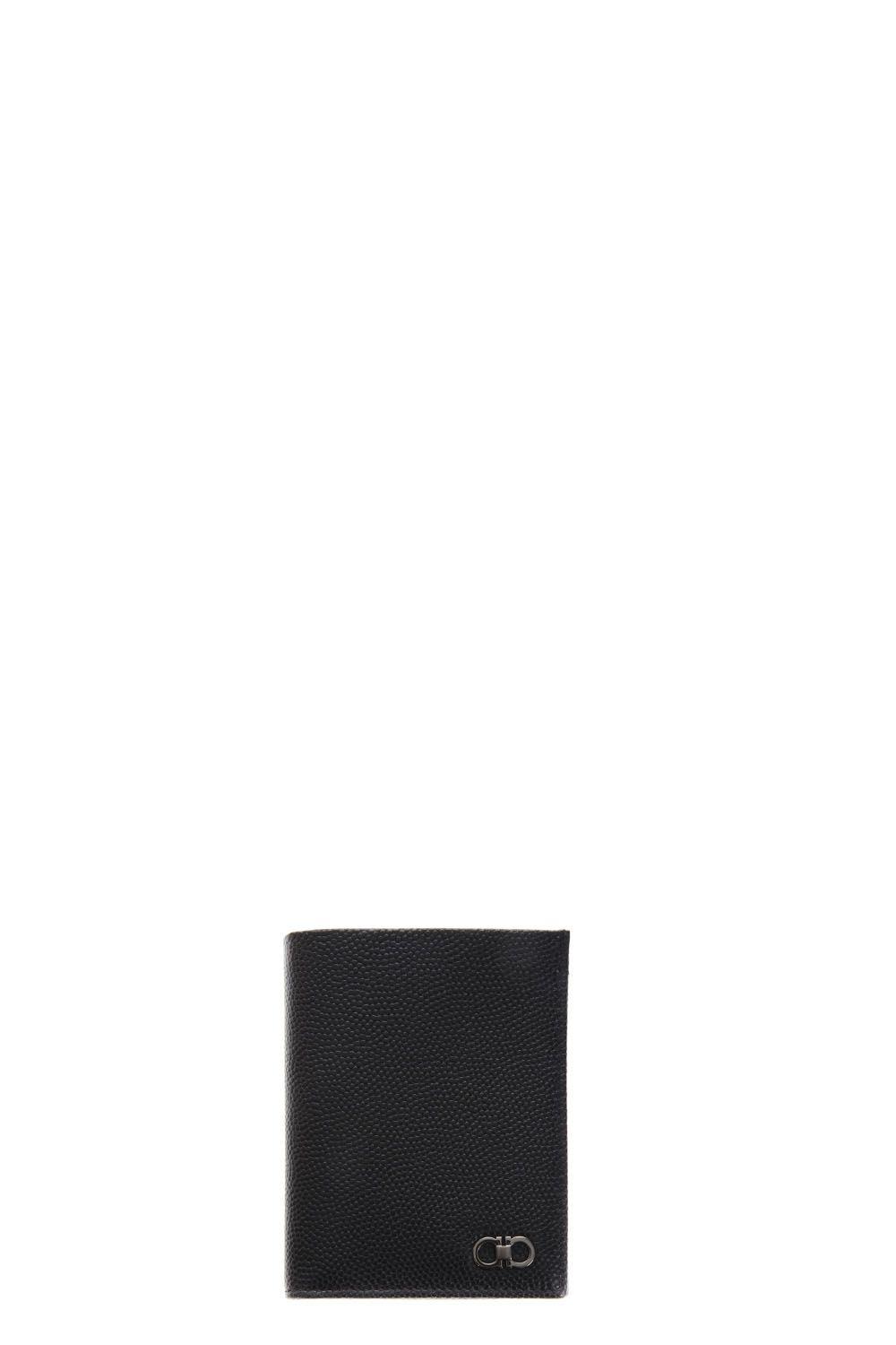 SALVATORE FERRAGAMO Gancino Logo Bi-Fold Wallet in Black