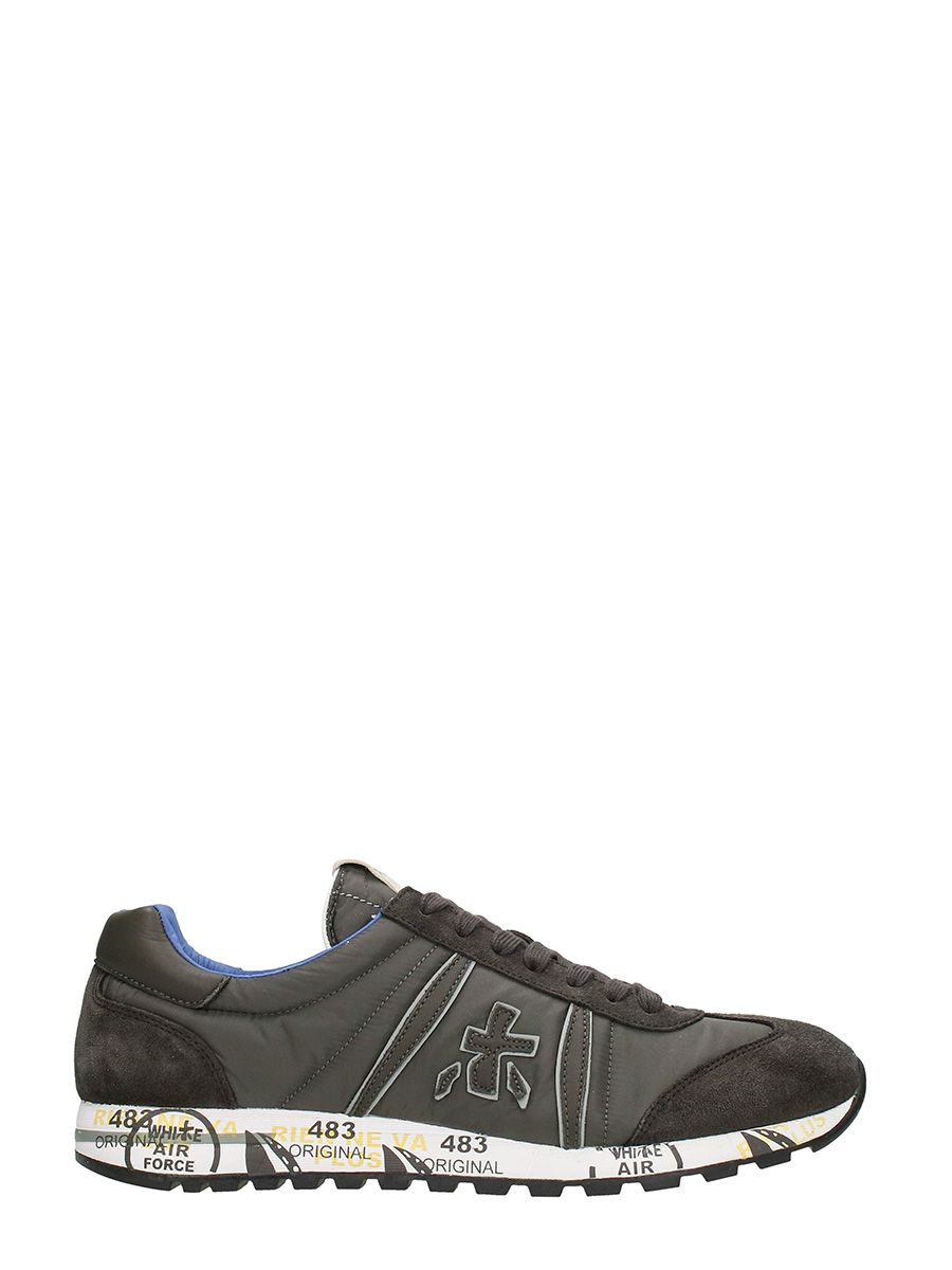 Premiata Lucy In Dark Grey Suede And Fabric Sneakers