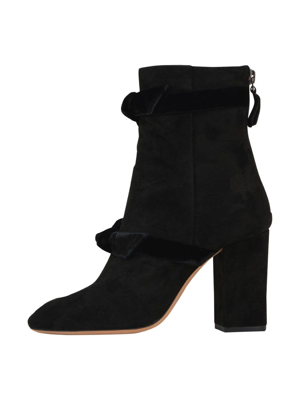 Alexandre Birman Velvet-trimned Suede Ankle Boots