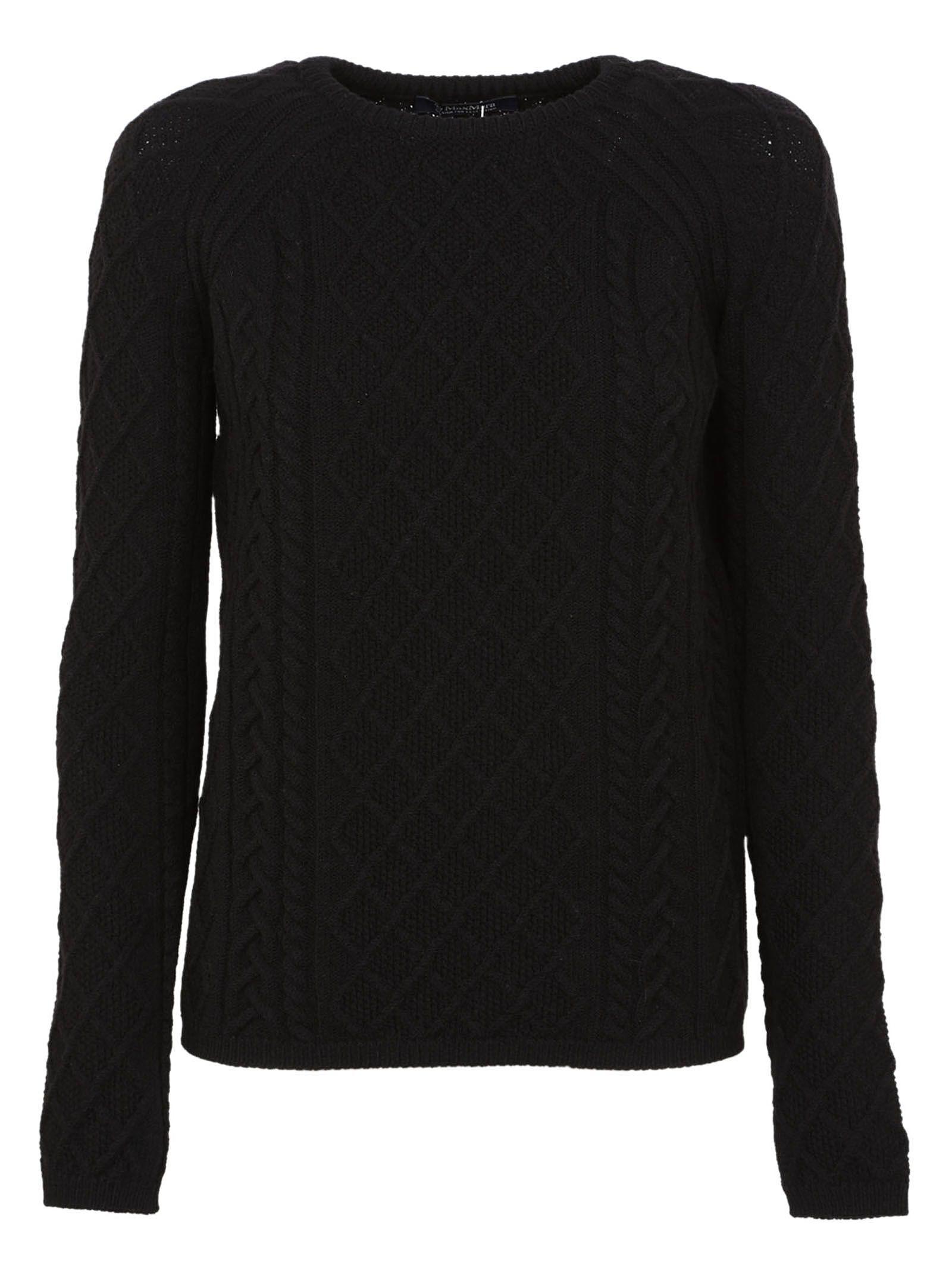 Max Mara Studio - S Max Mara Turbigo Cable Knit Sweater - Black ...