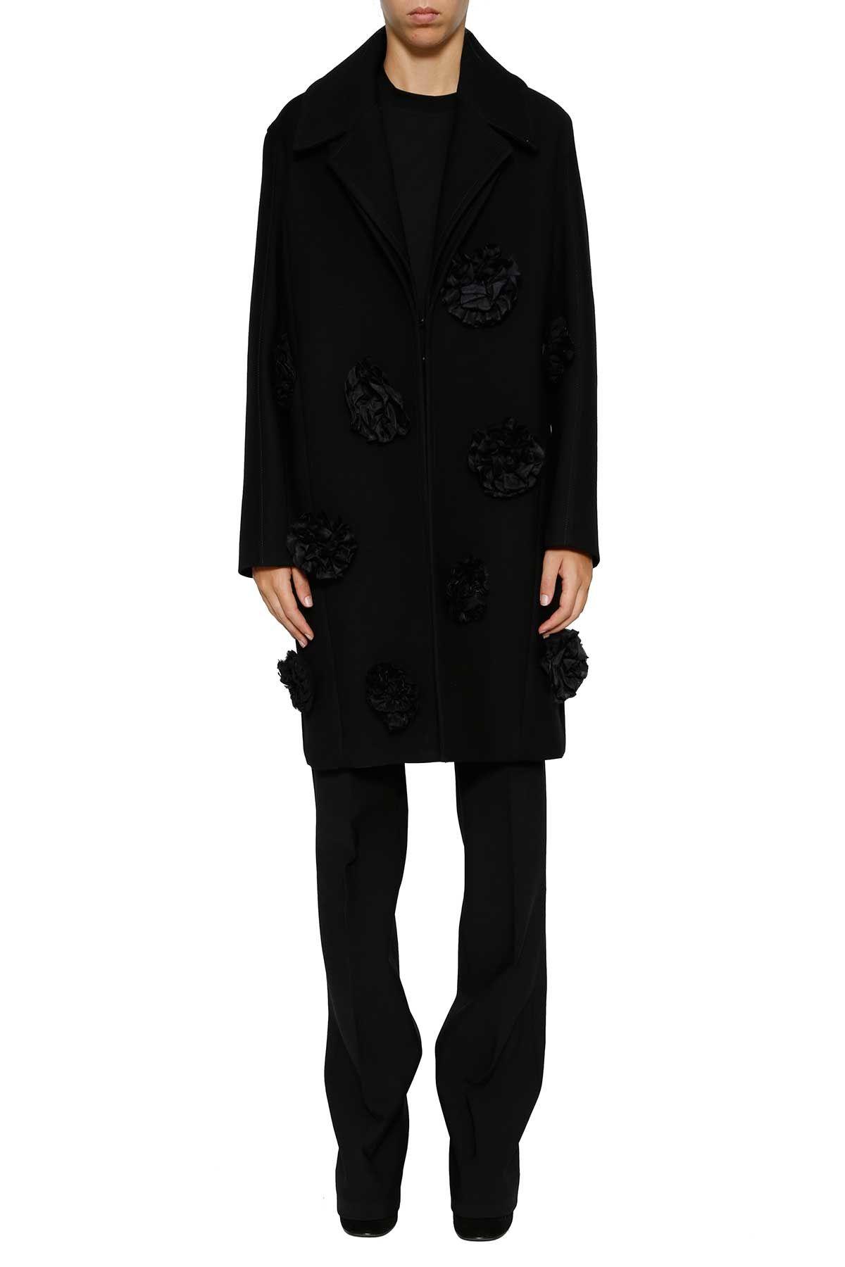 Victoria Victoria Beckham Flower Appliqué Coat